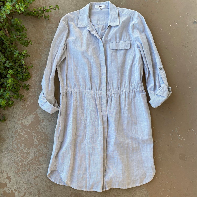 Etcetera Blue Linen/Cotton Shirt Dress, Size 8