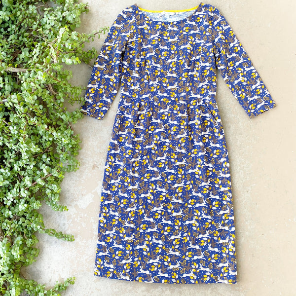 Boden Rabbit Print Stretch Dress, Size 4L (4 Long)