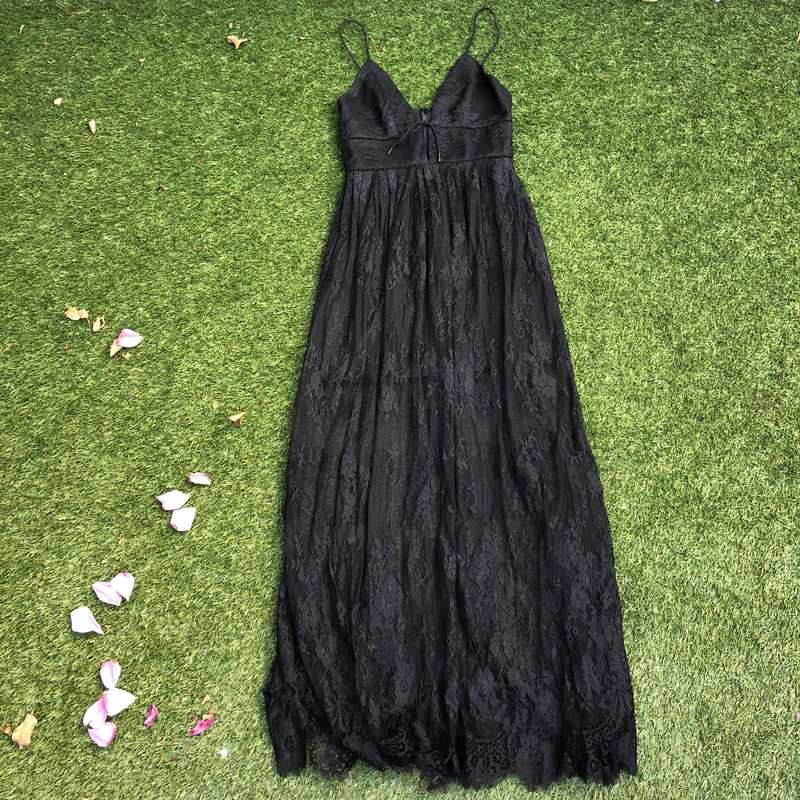 X by NBD Revolve Black Lace Sheer Skirt Dress, Size 4