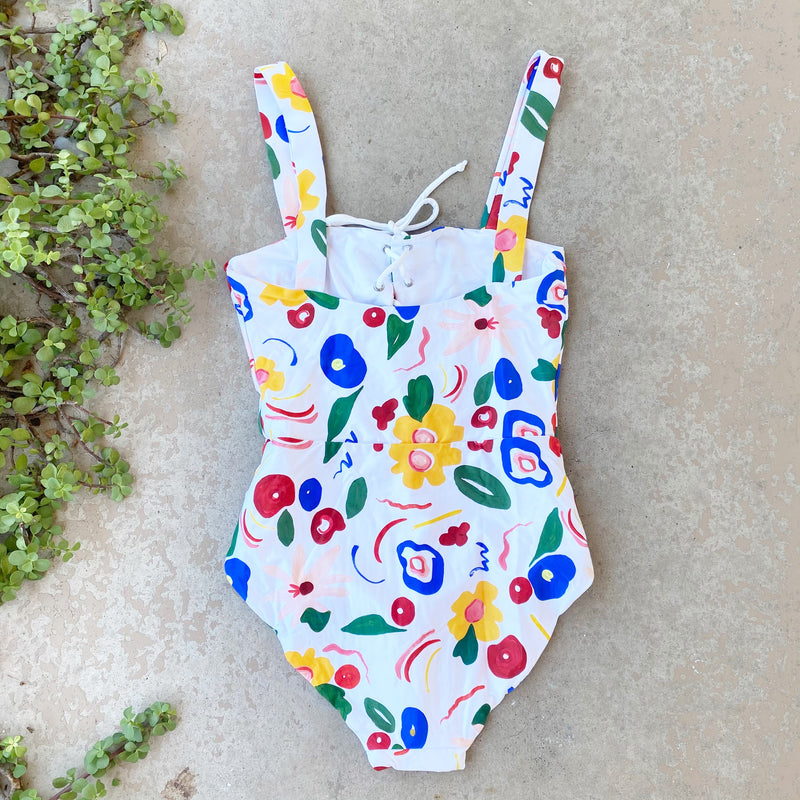 Onia Watercolor One Piece Swimsuit, Size Small