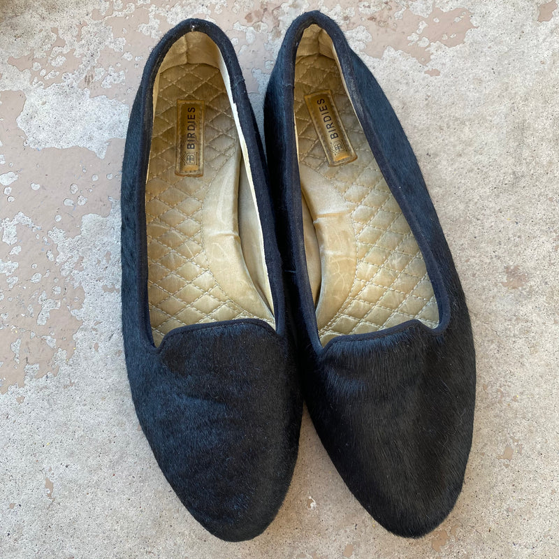 Birdies Calf Hair Loafers, Size 7.5