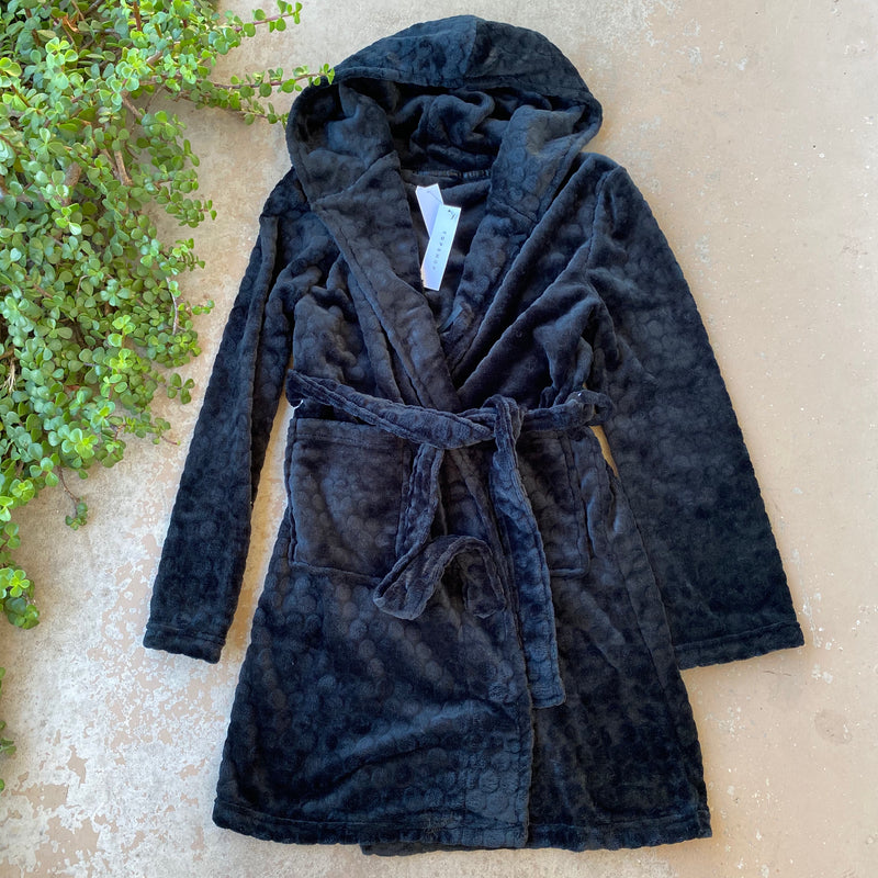 Topshop Black Cozy Robe, Size Medium