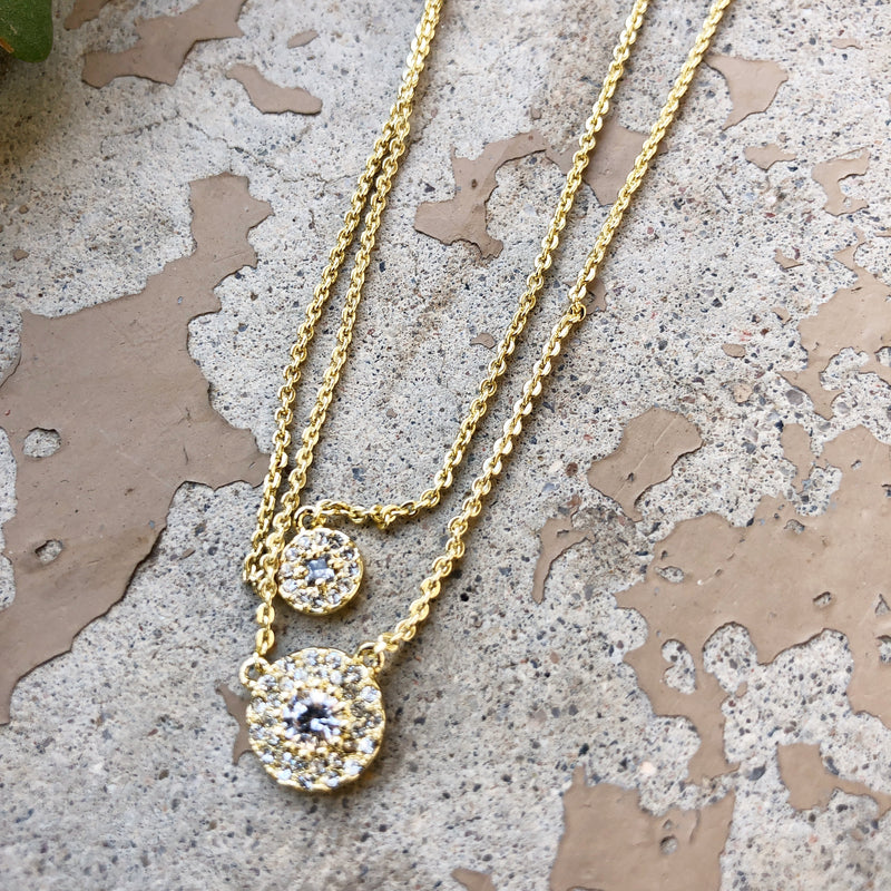 Nordstrom Layered Sapphire Crystal Gold Necklace