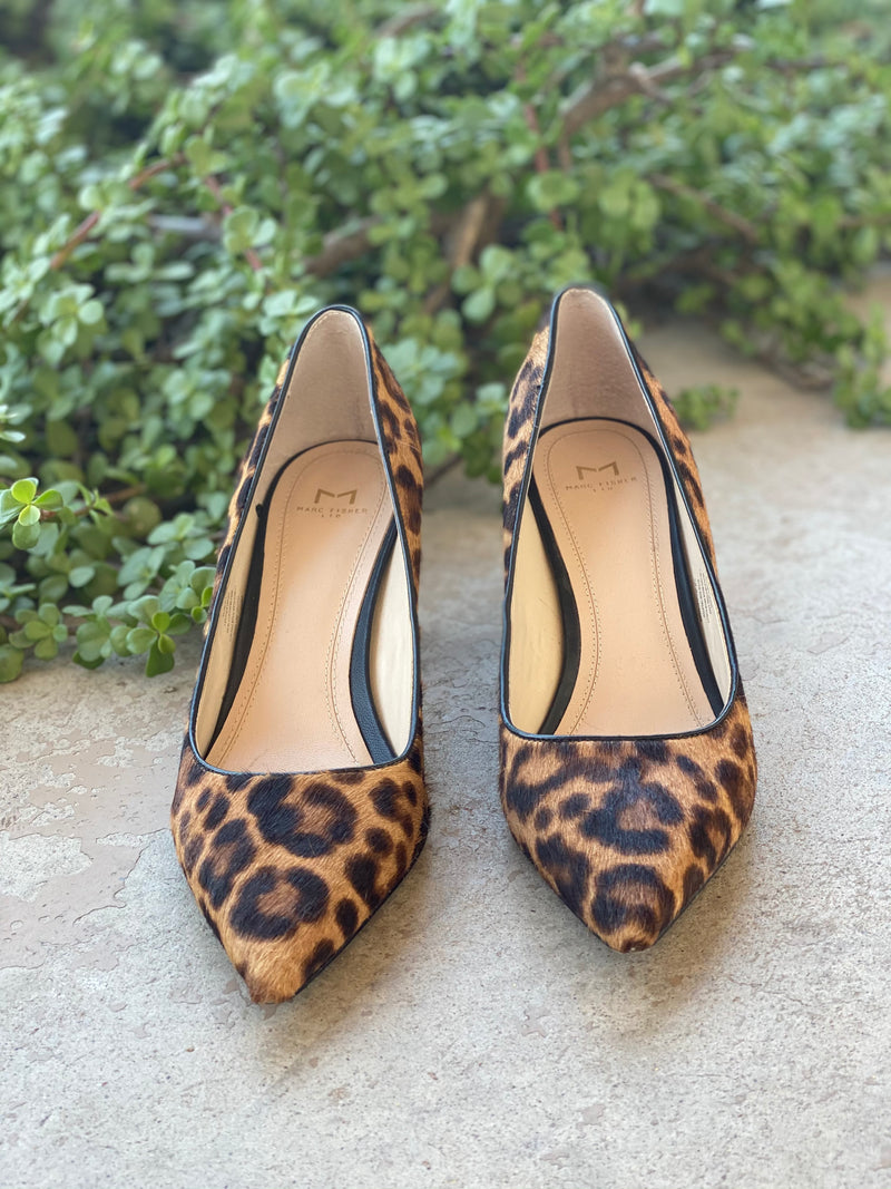 Marc Fisher Leopard Calf Hair Pumps, Size 8