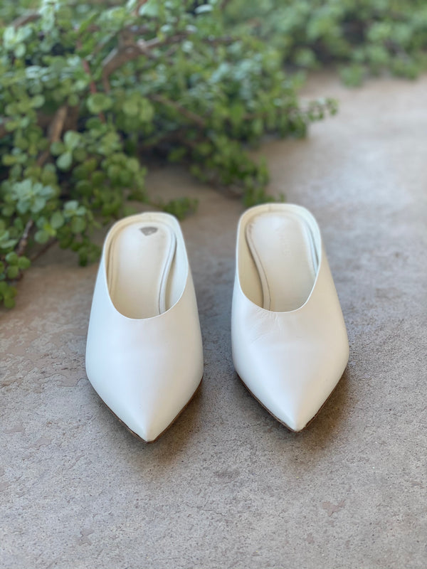 Vince White Leather Mules, US 6.5