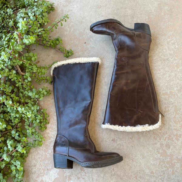 Born Leather Shearling Riding Boots, Size 6