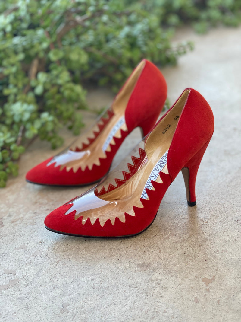 Norma Kamali Red Suede Pumps, Size 5.5