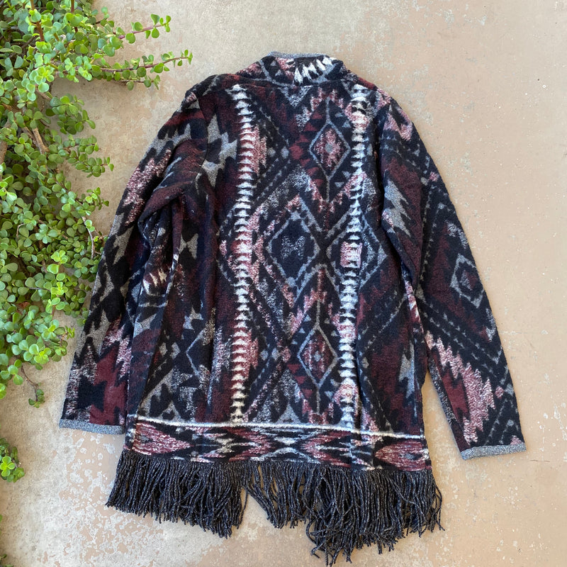Fringed Knit Cardigan, Size Medium