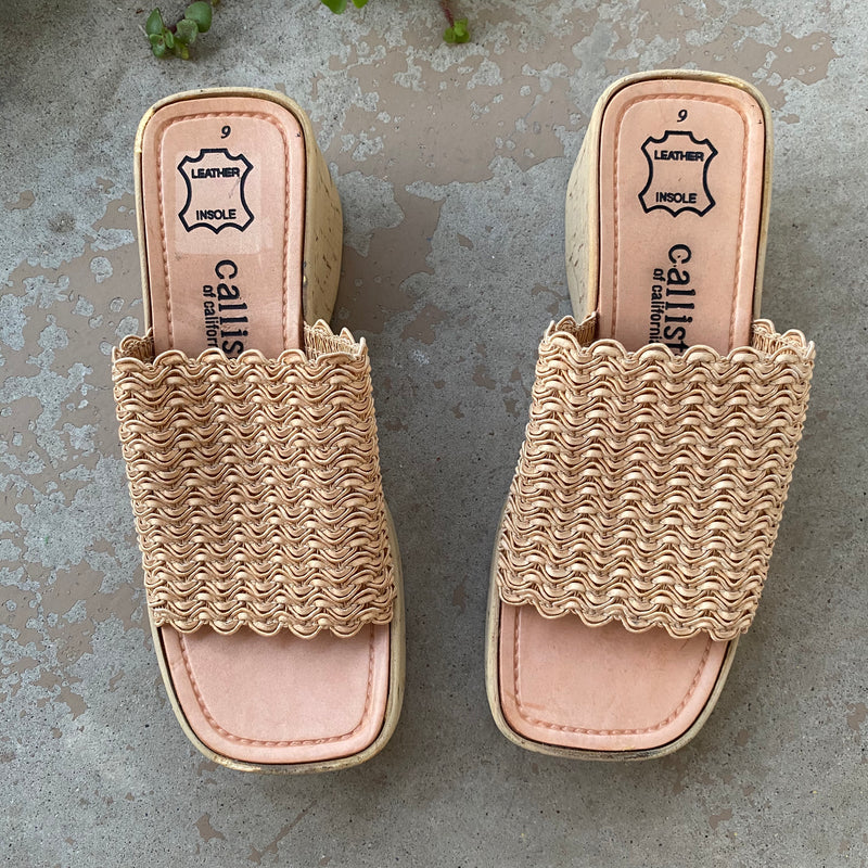Callisto Vintage Cork Wedge Slides, Size 9