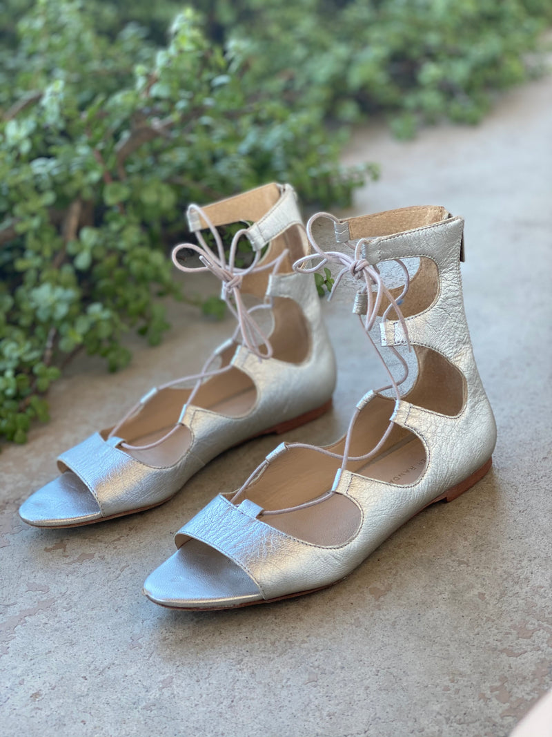 Loeffler Randall Silver Lace Up Flats, Size 8.5