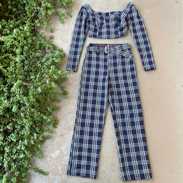 Free People Plaid Pants Set, Size 4