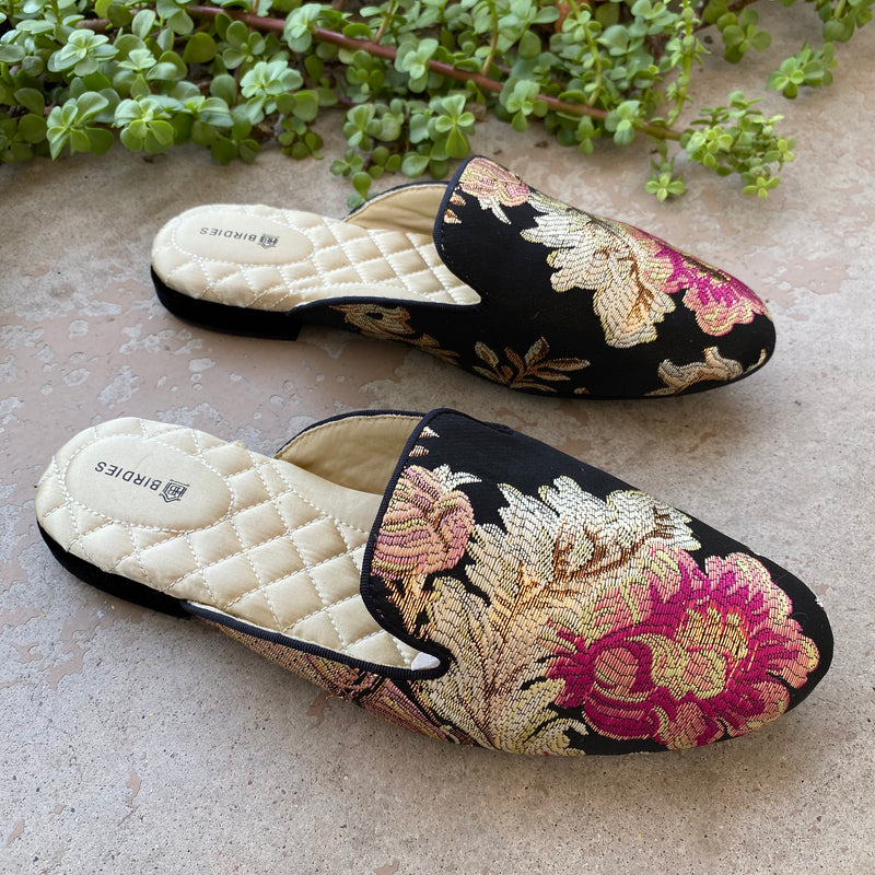 Birdies Phoebe Jacquard Satin Slippers, Size 8.5