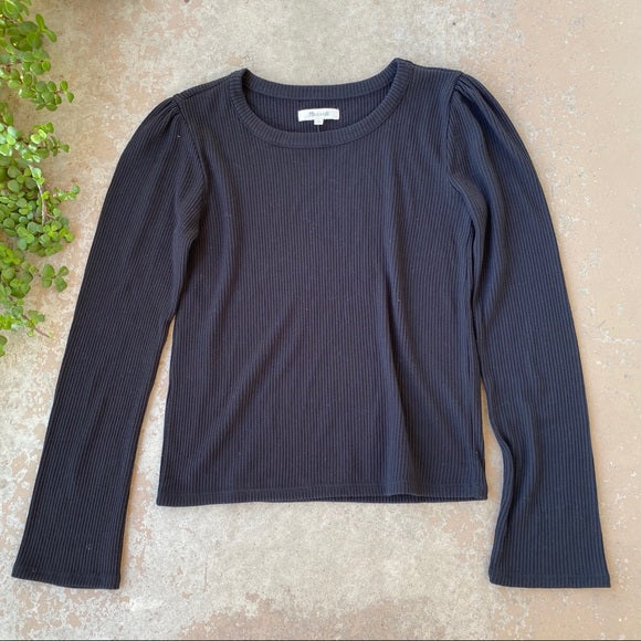 Madewell Black Scoop Neck Ribbed Pullover Sweater, Size Small