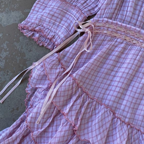 Lorelei Pink Gingham Mini Dress, Size Large