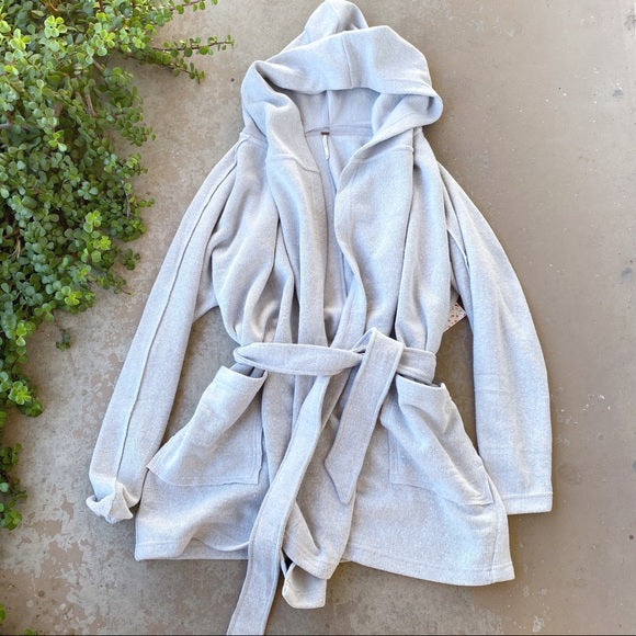 Free People Willow Hooded Oversized Gray Cardigan, Size XS/S