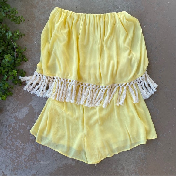 The Vanity Room Yellow Strapless Fringe Boho Romper, Size Large