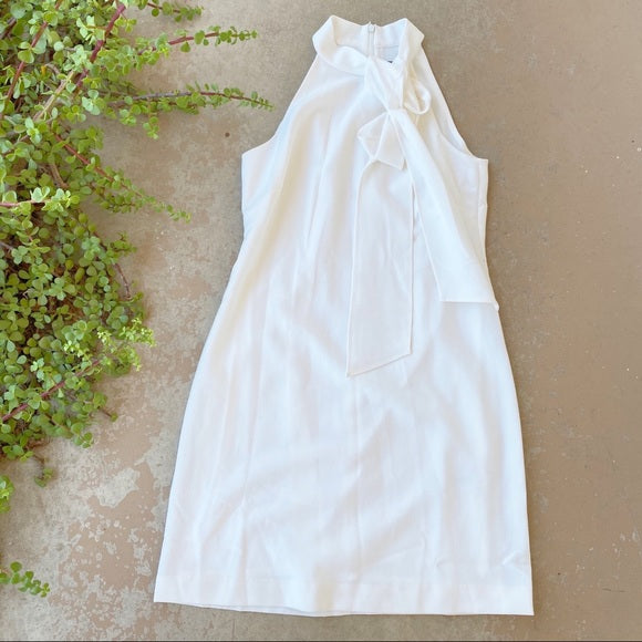 Vince Camuto White Knotted Sheath Dress, Size 4