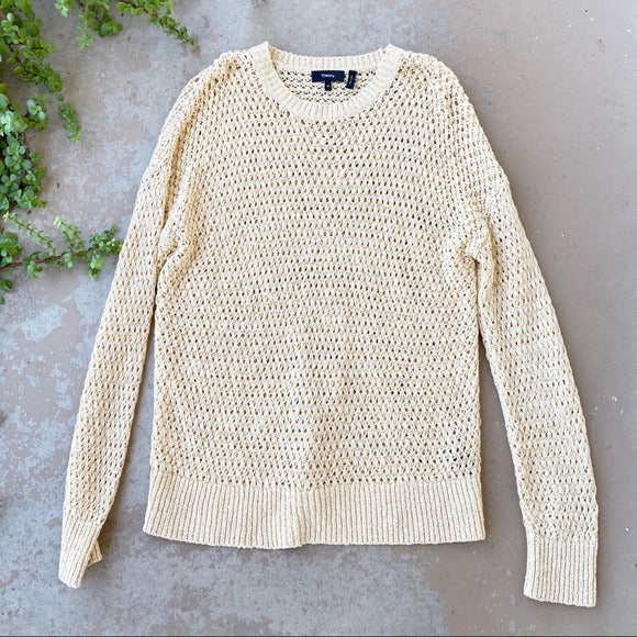 Theory Karenia Cream Sweater, Size Medium