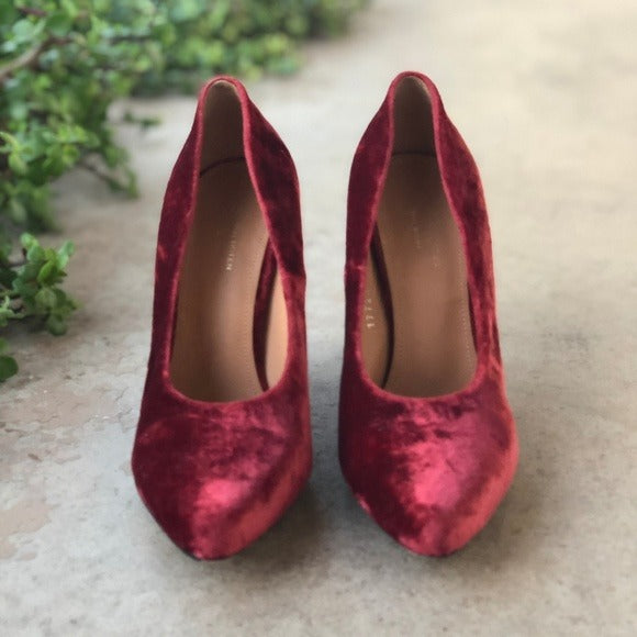 Dries Van Noten Crushed Velvet Pumps, Size 6
