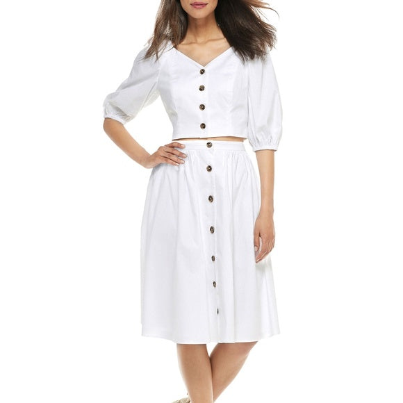 Gal Meets Glam White Button Up Skirt, Size 20