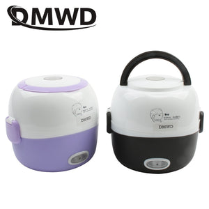 Electric Lunch Box Rice Cooker Steamer 2 Layer Stainless Steel 1.3L - Happy Snappy Gifts