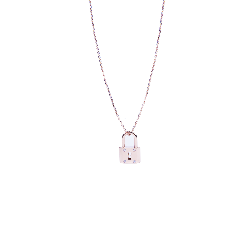 Collier Or Rose sertis de 4 diamants