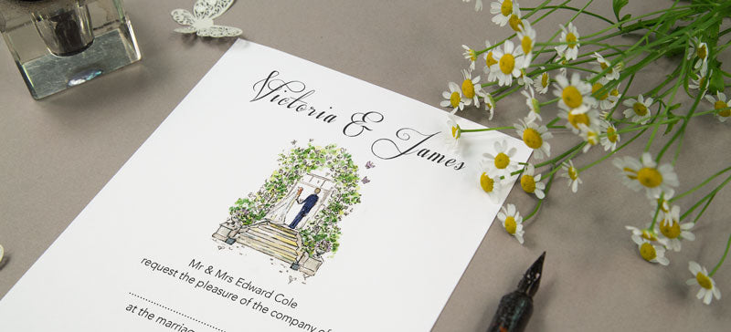 watercolour illustrated wedding stationery with bride and groom under rose arch
