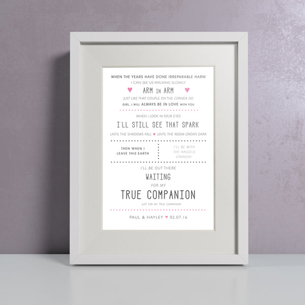 Lyrics or Favourite Quote Print - Personalised
