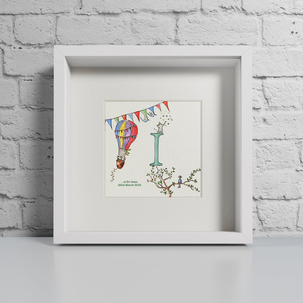 Hot air balloon personalised initial print by Daisy Foster