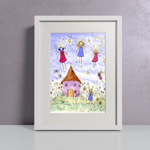 Children's watercolour painting of fairies flying around their house