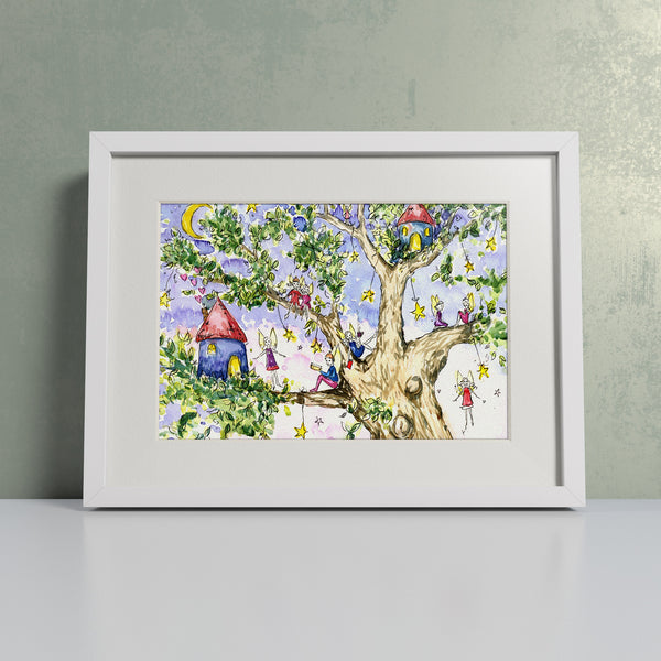 Children's watercolour painting of a fairy treehouse