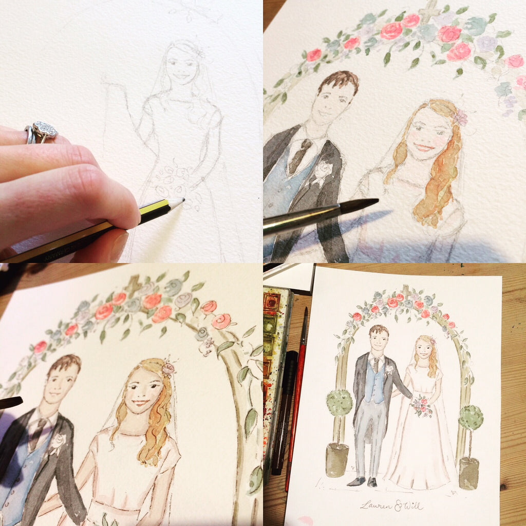 Personalised illustrated wedding couple portrait - Personalised