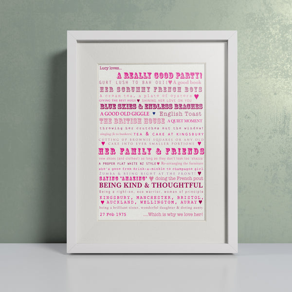 Likes Pinks - Personalised Print