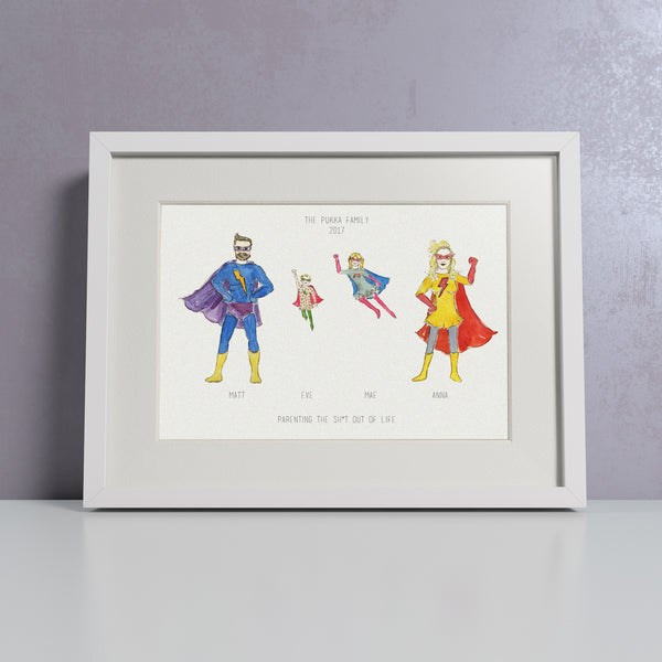 'Super You' Personalised Super Hero Family Print