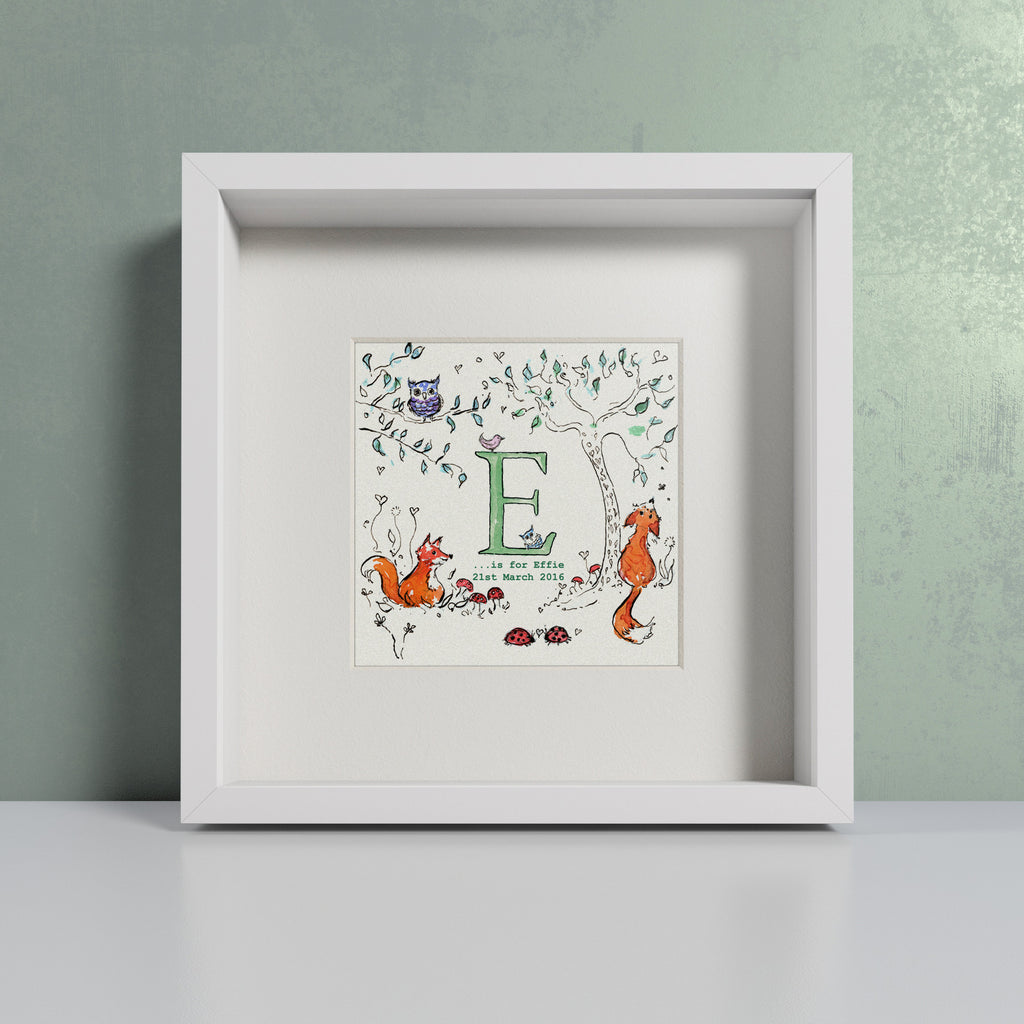 Woodland Fox personalised initial print by Daisy Foster