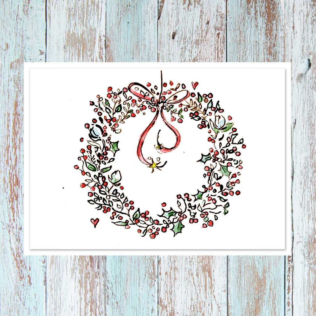 Christmas Wreath - Personalised card