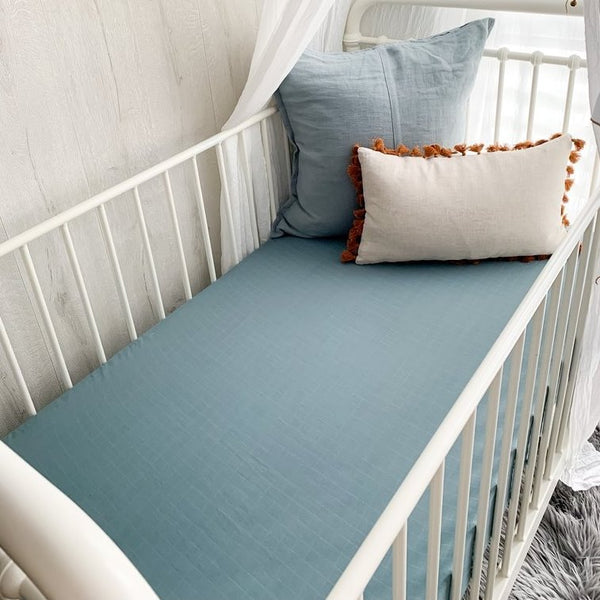 Pewter Blue Muslin Sheets