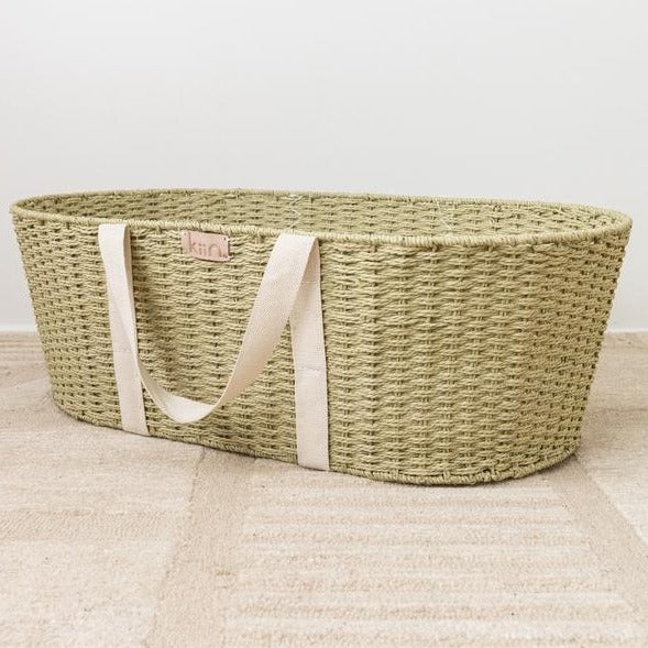 Natural Twine Moses Basket- Fern