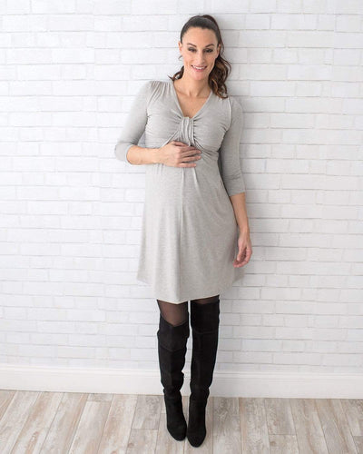 Tupelo Honey Love Knot Maternity Dress XS / GRAY HEATHER Dress