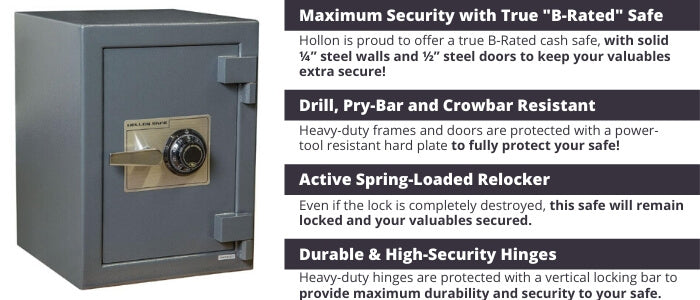 Hollon B-Rated Cash Safe Security Features