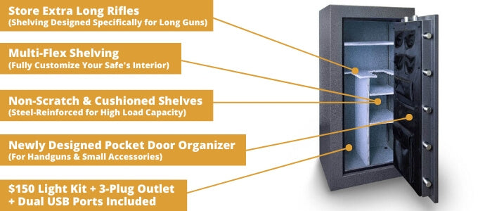 Hollon Black Hawk Series Gun Safe Storage Features
