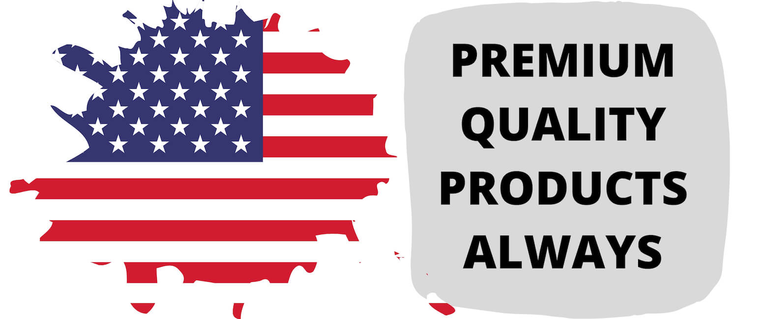 "american flag with caption ""premium quality products always"""