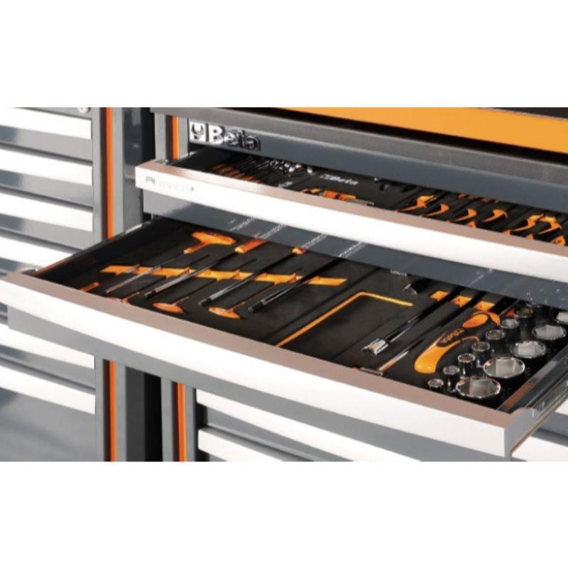 Beta Tools C55 Comprehensive Workshop Equipment Combination Multiple Tool Trays in Cabinets