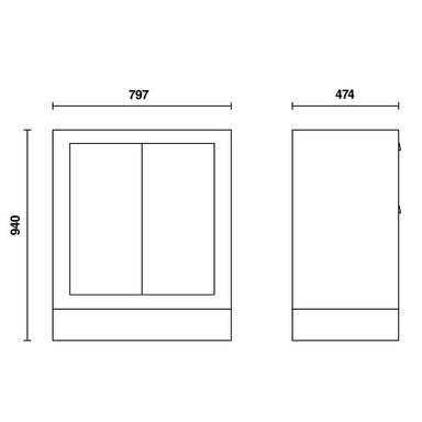 Beta Tools C55MA Fixed Module (Two Doors) Overview of Dimensions