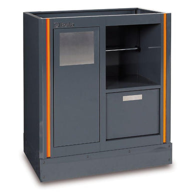 Beta Tools C55MS Fixed Service Module Front View with Trash Compartment, Paper Tower Holder and Additional Cabinet
