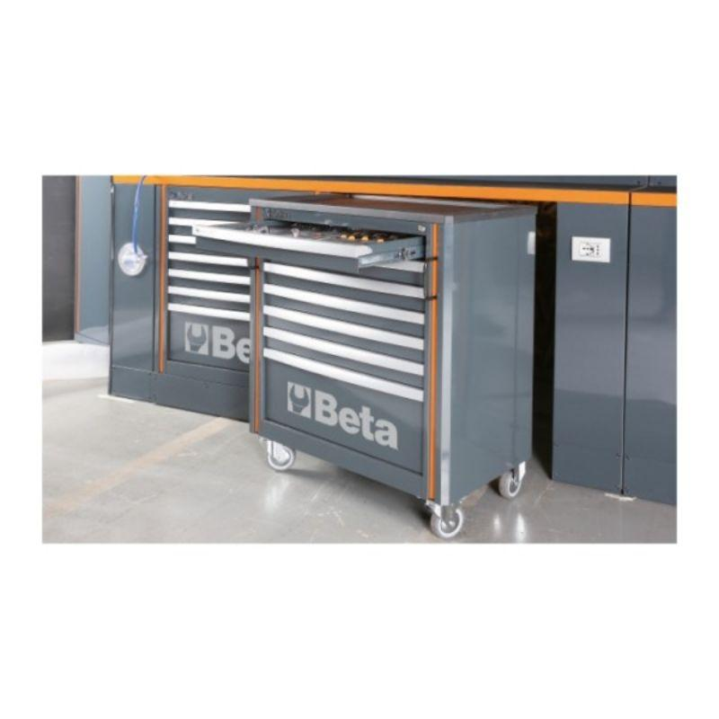 Beta Tools C55PB/3 Workshop Equipment Combination One of Cabinets with Drawer Open and Rolled Out