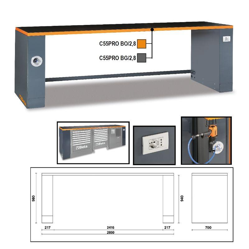 Beta Tools C55PRO B/2,8 (2.8 Meter) Sheet Metal Workbench Outlining Different Features and Colors