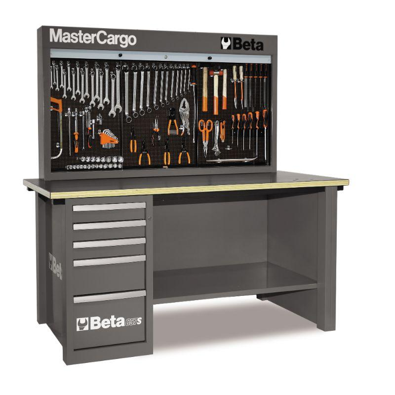 Beta Tools C57SA MasterCargo Workbench With One Cabinet and Tool Panel in Grey Front View