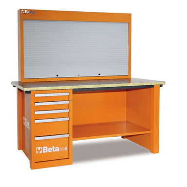 Beta Tools C57SA MasterCargo Workbench With One Cabinet and Tool Panel in Orange Front View
