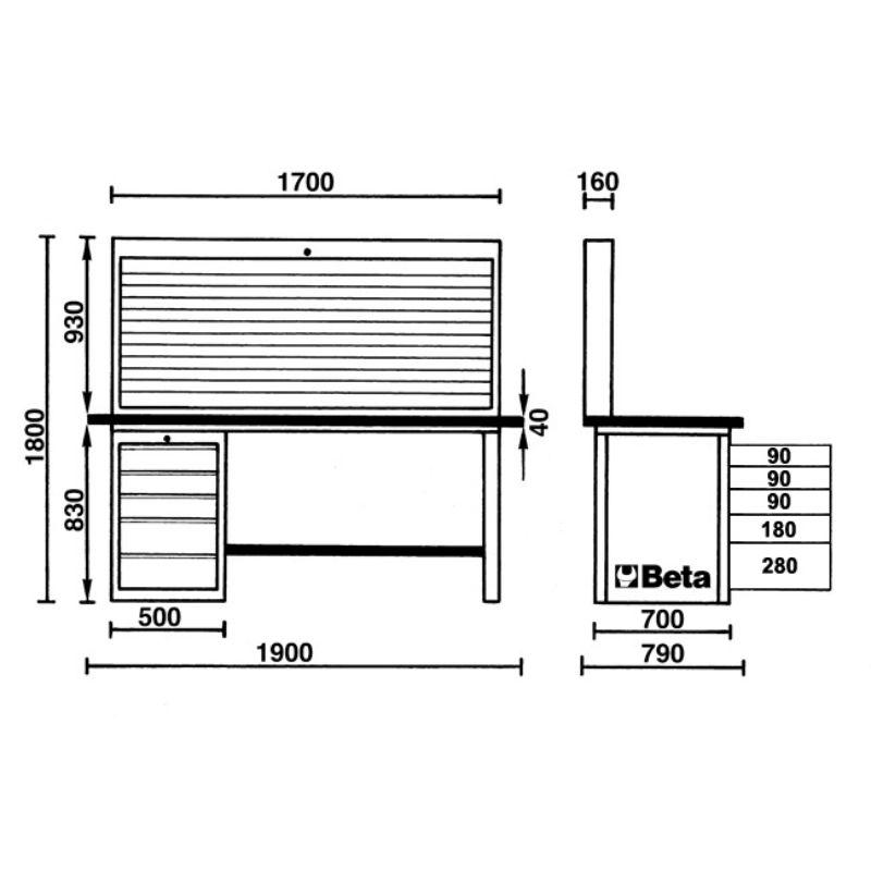 Beta Tools C57SA MasterCargo Workbench Overview of Dimensions
